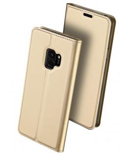 """Auksinės spalvos atverčiamas dėklas Samsung Galaxy S9 telefonui """"Dux Ducis Skin"""""""