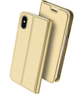 """Auksinės spalvos atverčiamas dėklas Apple iPhone XS Max telefonui """"Dux Ducis Skin"""""""