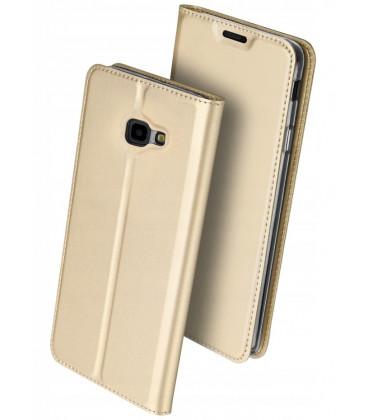 """Auksinės spalvos atverčiamas dėklas Samsung Galaxy J4 Plus 2018 telefonui """"Dux Ducis Skin"""""""
