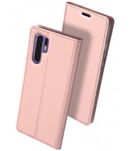 """Rausvai auksinės spalvos atverčiamas dėklas Huawei P30 Pro telefonui """"Dux Ducis Skin"""""""