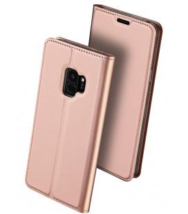 """Rausvai auksinės spalvos atverčiamas dėklas Samsung Galaxy S9 telefonui """"Dux Ducis Skin"""""""