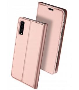 """Rausvai auksinės spalvos atverčiamas dėklas Samsung Galaxy A7 2018 telefonui """"Dux Ducis Skin"""""""