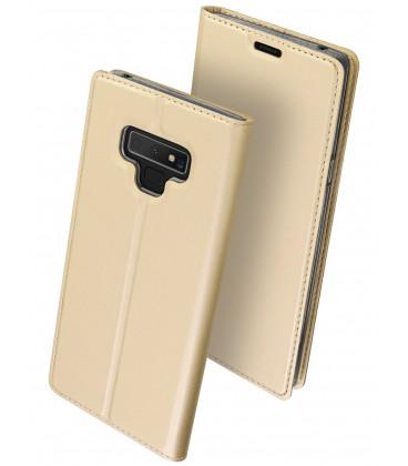 """Auksinės spalvos atverčiamas dėklas Samsung Galaxy Note 9 telefonui """"Dux Ducis Skin"""""""