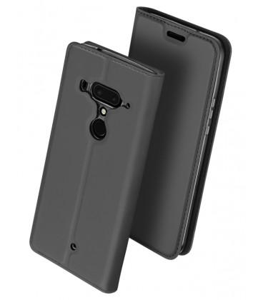 """Pilkas atverčiamas dėklas HTC U12 Plus telefonui """"Dux Ducis Skin"""""""