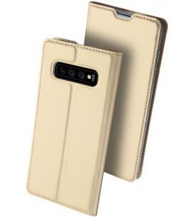 """Auksinės spalvos atverčiamas dėklas Samsung Galaxy S10 telefonui """"Dux Ducis Skin"""""""