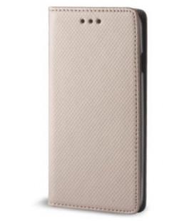 """Auksinės spalvos atverčiamas dėklas Samsung Galaxy J6 Plus 2018 telefonui """"Smart Book Magnet"""""""