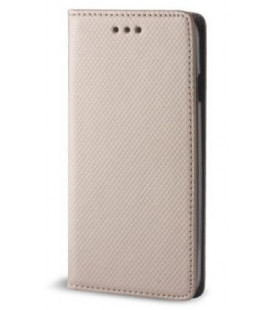"""Auksinės spalvos atverčiamas dėklas Huawei Y6 2018 telefonui """"Smart Book Magnet"""""""