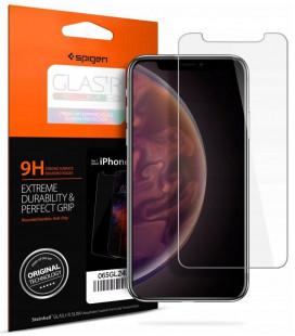 "Apsauginis grūdintas stiklas Apple iPhone XR telefonui ""Spigen Glas.TR Slim HD"""