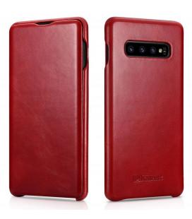 """Raudonas odinis atverčiamas dėklas Samsung Galaxy S10 telefonui """"iCarer Vintage"""""""
