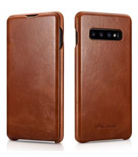 """Rudas odinis atverčiamas dėklas Samsung Galaxy S10 Plus telefonui """"iCarer Vintage"""""""