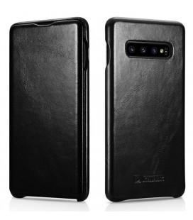 """Juodas odinis atverčiamas dėklas Samsung Galaxy S10 Plus telefonui """"iCarer Vintage"""""""