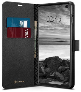 """Juodas atverčiamas dėklas Samsung Galaxy S10 telefonui """"Spigen La Manon Wallet"""""""