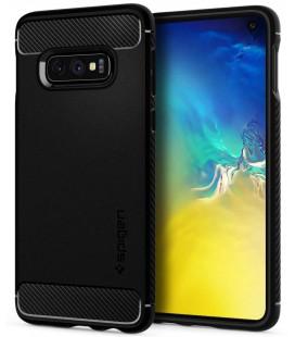 """Matinis juodas dėklas Samsung Galaxy S10E telefonui """"Spigen Rugged Armor"""""""