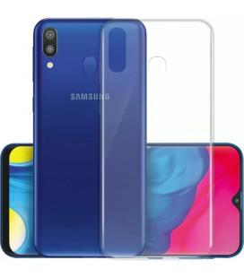 Skaidrus plonas 0,3mm silikoninis dėklas Samsung Galaxy M20 telefonui