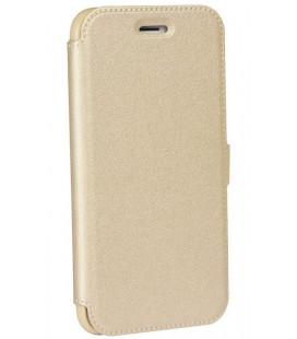 """Auksinės spalvos atverčiamas dėklas LG Q6 telefonui """"Telone Book Pocket"""""""