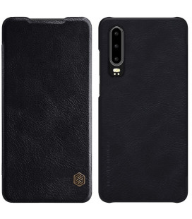 """Odinis juodas atverčiamas dėklas Huawei P30 telefonui """"Nillkin Qin"""""""