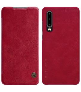 """Odinis raudonas atverčiamas dėklas Huawei P30 telefonui """"Nillkin Qin"""""""