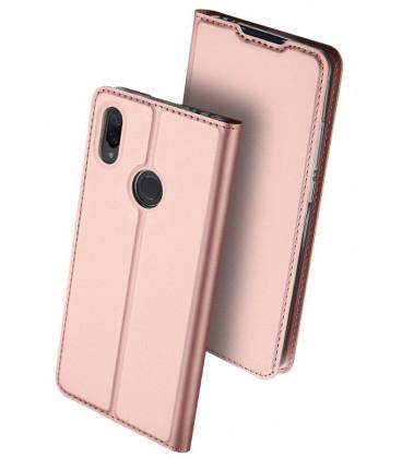 """Rausvai auksinės spalvos atverčiamas dėklas Xiaomi Redmi Note 7 telefonui """"Dux Ducis Skin"""""""