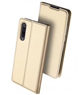 """Auksinės spalvos atverčiamas dėklas Xiaomi Mi9 telefonui """"Dux Ducis Skin"""""""