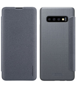 """Atverčiamas pilkas dėklas Samsung Galaxy S10 Plus telefonui """"Nillkin Sparkle"""" Priedaimobiliems.lt"""