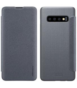 """Atverčiamas pilkas dėklas Samsung Galaxy S10 telefonui """"Nillkin Sparkle"""" Priedaimobiliems.lt"""