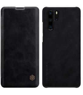 """Odinis juodas atverčiamas dėklas Huawei P30 Pro telefonui """"Nillkin Qin"""""""