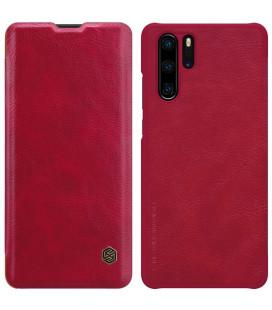 """Odinis raudonas atverčiamas dėklas Huawei P30 Pro telefonui """"Nillkin Qin"""""""