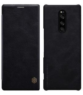 """Odinis juodas atverčiamas dėklas Sony Xperia 1 telefonui """"Nillkin Qin"""""""
