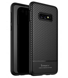"""Juodas dėklas Samsung Galaxy S10E telefonui """"iPaky Carbon Fiber"""""""