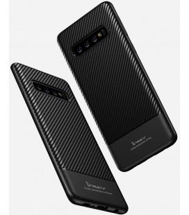 """Juodas dėklas Samsung Galaxy S10 telefonui """"iPaky Carbon Fiber"""""""