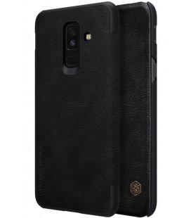 """Odinis juodas atverčiamas dėklas Samsung Galaxy A6 Plus 2018 telefonui """"Nillkin Qin"""""""