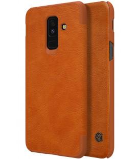 """Odinis rudas atverčiamas dėklas Samsung Galaxy A6 Plus 2018 telefonui """"Nillkin Qin"""""""