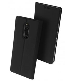 """Juodas atverčiamas dėklas Sony Xperia 1 telefonui """"Dux Ducis Skin"""""""