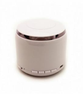 Bluetooth nešiojamas garsiakalbis J-18 (USB, MicroSD, laisvų rankų įranga, radijas, AUX, LED) baltas