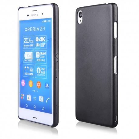 """Juodas plonas dėklas Sony Xperia Z3+ telefonui """"Leather Thin"""""""