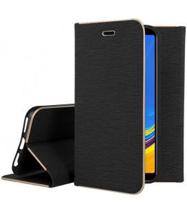 """Juodas atverčiamas dėklas su rėmeliu Samsung Galaxy A7 2018 telefonui """"Book Vennus Z"""""""