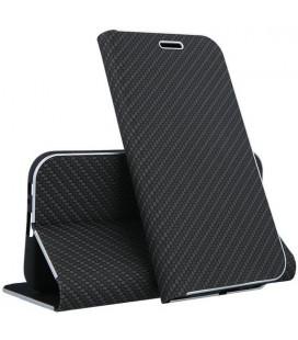 """Juodas atverčiamas Carbon dėklas Samsung Galaxy J4 Plus 2018 telefonui """"Book Vennus Carbon Z"""""""