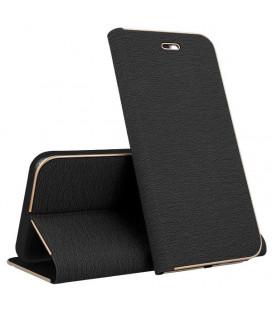"""Juodas atverčiamas dėklas su rėmeliu Samsung Galaxy J6 2018 telefonui """"Book Vennus Z"""""""