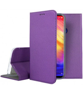 """Violetinis atverčiamas dėklas Xiaomi Redmi 7 telefonui """"Smart Book Magnet"""""""