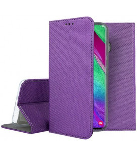 """Violetinis atverčiamas dėklas Samsung Galaxy A40 telefonui """"Smart Book Magnet"""""""