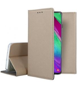 """Auksinės spalvos atverčiamas dėklas Samsung Galaxy A40 telefonui """"Smart Book Magnet"""""""