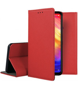 """Raudonas atverčiamas dėklas Xiaomi Redmi Note 7 telefonui """"Smart Book Magnet"""""""