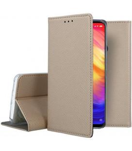 """Auksinės spalvos atverčiamas dėklas Xiaomi Redmi Note 7 telefonui """"Smart Book Magnet"""""""