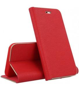 """Raudonas atverčiamas dėklas su rėmeliu Samsung Galaxy S9 telefonui """"Book Vennus Z"""""""