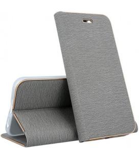 """Sidabrinės spalvos atverčiamas dėklas su rėmeliu Apple iPhone X telefonui """"Book Vennus Z"""""""