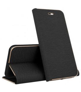 """Juodas atverčiamas dėklas su rėmeliu Samsung Galaxy S9 telefonui """"Book Vennus Z"""""""