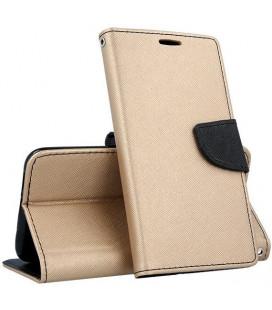 """Auksinės spalvos atverčiamas dėklas Samsung Galaxy J4 Plus 2018 telefonui """"Telone Fancy"""""""