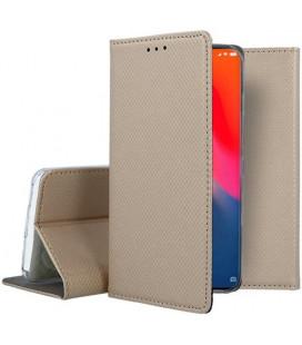"""Auksinės spalvos atverčiamas dėklas Xiaomi Mi9 telefonui """"Smart Book Magnet"""""""