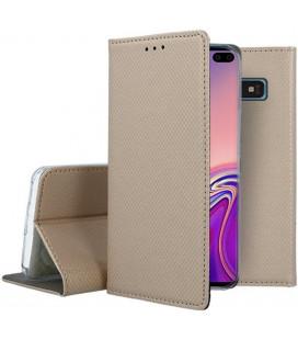 """Auksinės spalvos atverčiamas dėklas Samsung Galaxy S10 Plus telefonui """"Smart Book Magnet"""""""