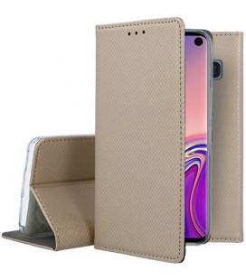 """Auksinės spalvos atverčiamas dėklas Samsung Galaxy S10 telefonui """"Smart Book Magnet"""""""